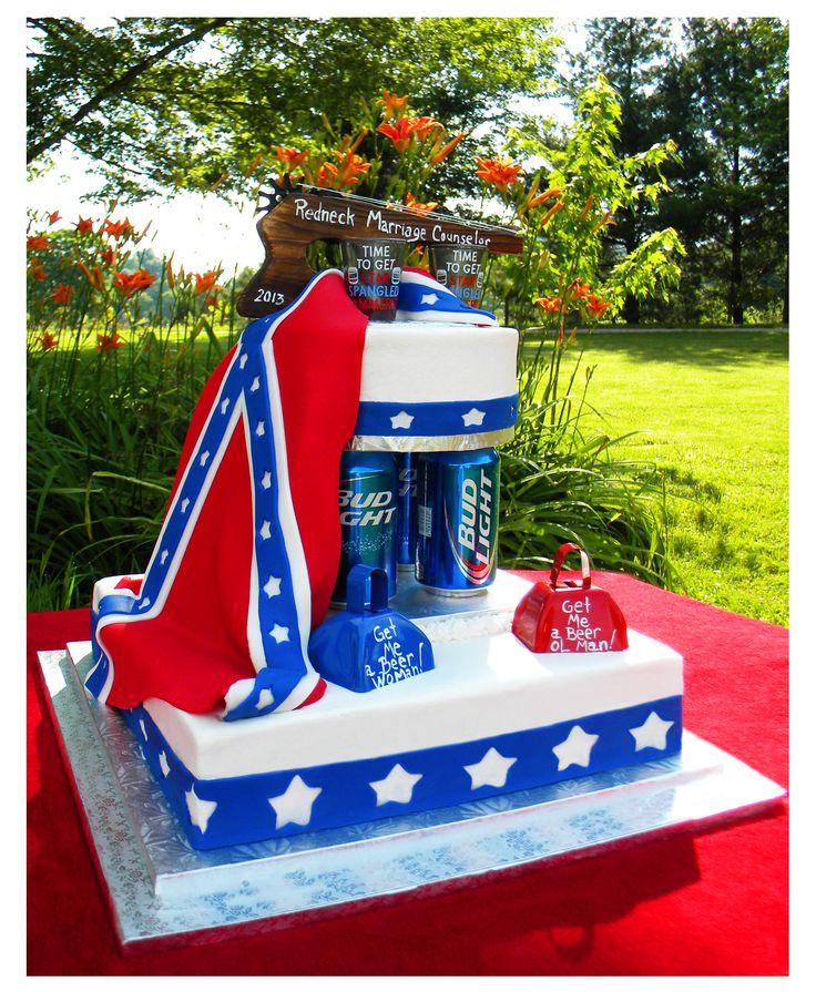 Redneck wedding cake, minus the bud light and add copies light:)