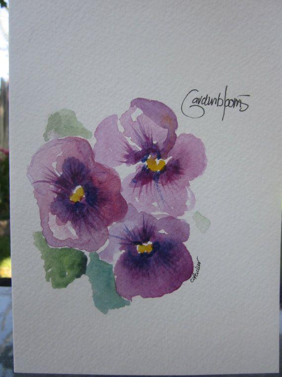 More Purple Pansies Watercolor Card