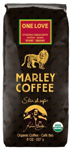 Marley Coffee, Organic One Love, Ethiopian YirgaCheffe, Whole Bean Coffee, 8 Ounce - http://teacoffeestore.com/marley-coffee-organic-one-love-ethiopian-yirgacheffe-whole-bean-coffee-8-ounce/