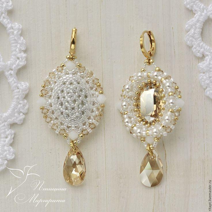 Купить Свадебные серьги с кристаллами Сваровски (swarovski), серьги из бисера…