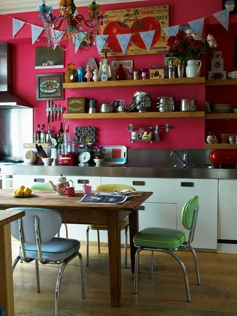 kitchen: Wall Colors, Kitchens Shelves, Floating Shelves, Kitchens Design, Open Shelves, Organic Ideas, Pink Kitchens, Colors Kitchens, Pink Wall