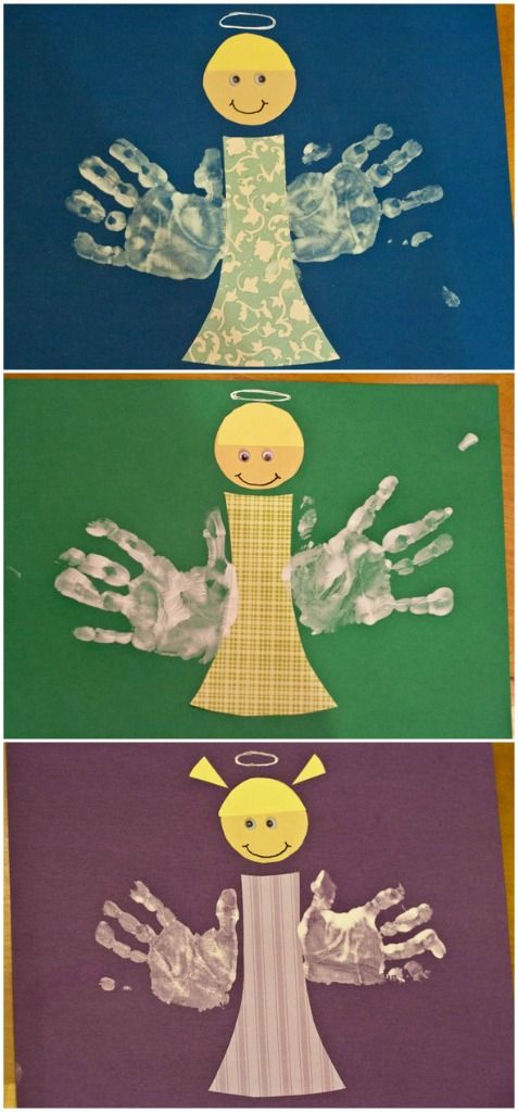 Cute idea for Sunday School project. Handprint angels, holiday craft