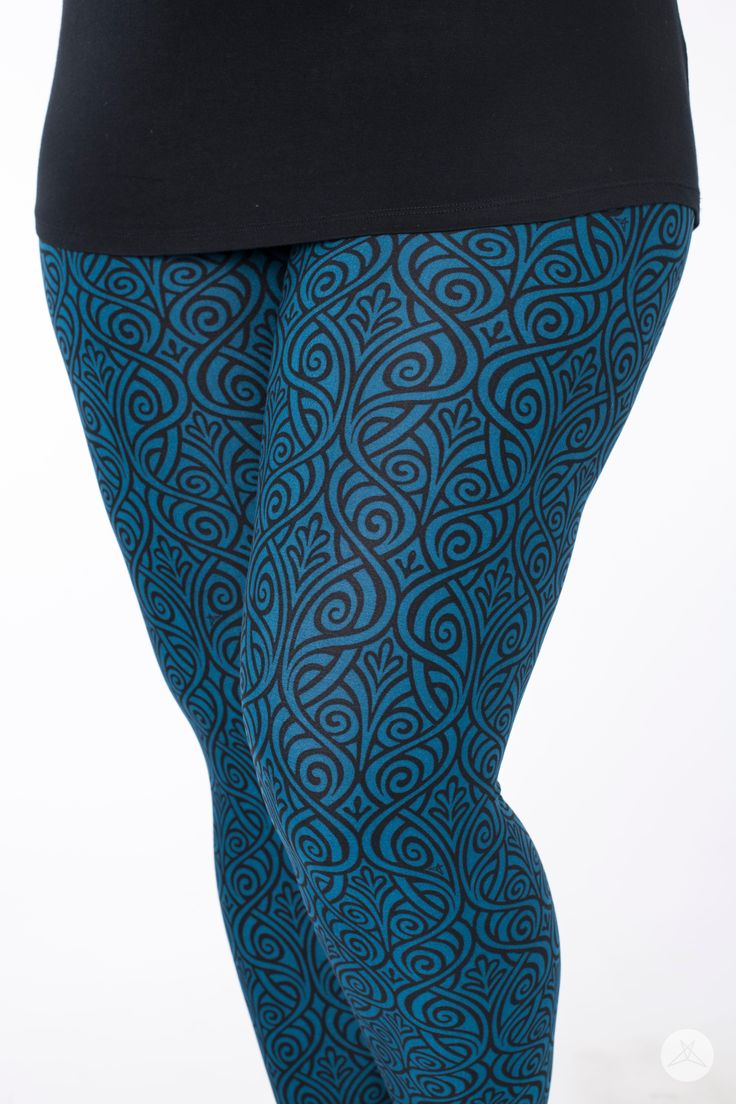 Sweetlegs.ca | Atlantis women's leggings canada peacock teal blue whimsical design available in petite one size plus
