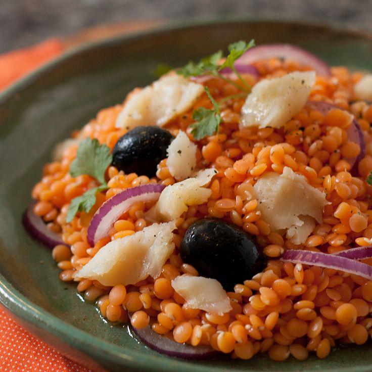 Salada de Lentilha Vermelha com Bacalhau                                                                                                                                                                                 Mais