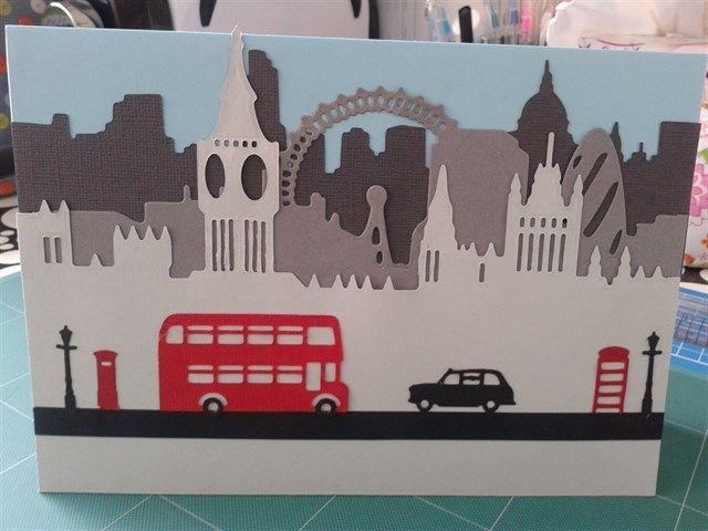 Handmade London Greeting Card made using Xcut Build-a-scene Dies.