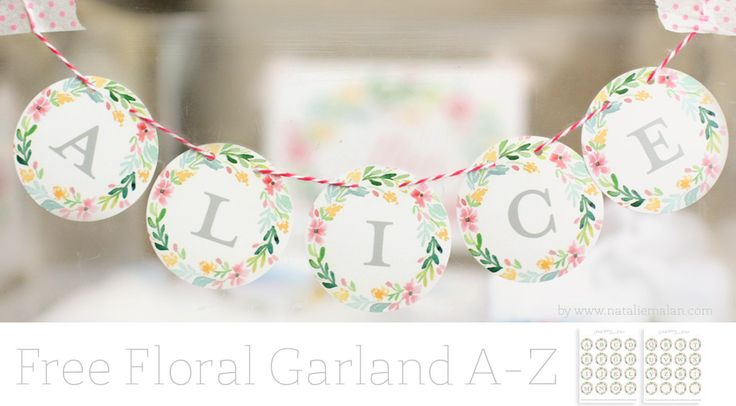 Free Botanical Garland - watercolor printable abc garland A-Z. Watercolor floral botanical laurel wreath alphabet.
