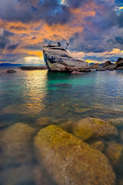 Bonsai Rock At Lake Tahoe by kevin mcneal, via Flickr.  Sunset during thunderstorm