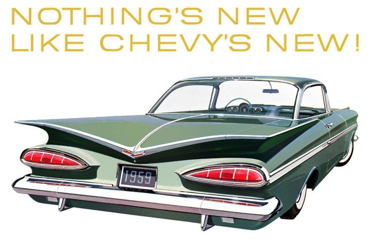 """""""All New All Over Again"""" was the slogan for the batwinged 1959 Chevrolet Impala Sport Coupe."""