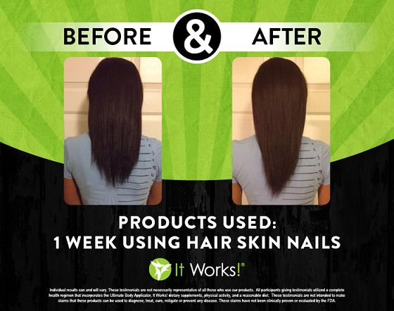 From 1 week to a full month of using It Works Hair, Skin, and Nails, you can see significant growth in hair and an overall healthier look.