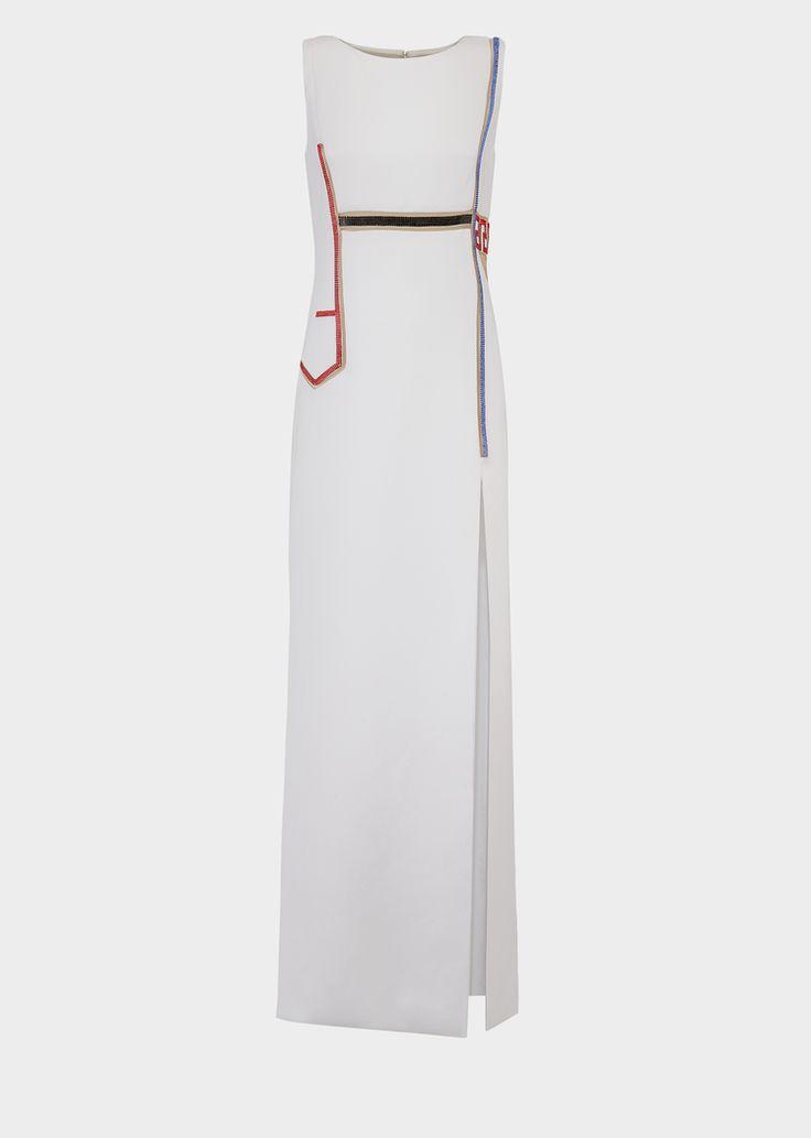 Robe de soirée mailles strass - Versace Femme | Boutique en Ligne France. Robe de soirée mailles strass de la Collection Versce Femme. Élégante et sensuelle, cette longue robe de soirée ornée de mailles strass et fendue sur le devant est la tenue parfaite pour une soirée stylée.
