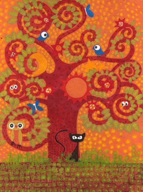 Kavita ArvindCat Art, Trees Art, Cat Ohol, Arvind Trees, Tiny Owls, Black Cat