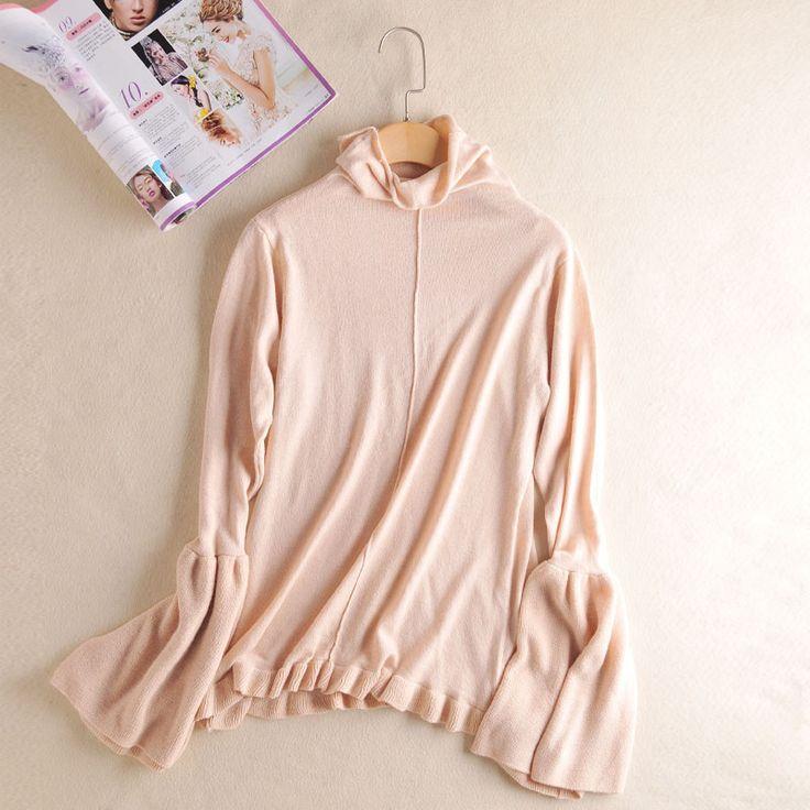 Women Cashmere Sweater Fincati Pile Collar Flare Sleeve Ruffled Hem Slim Fashion Sweaters Jersey Pulls Pullover