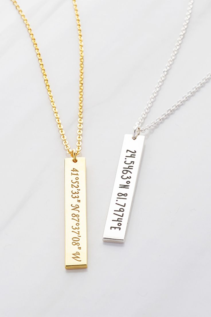 Coordinates bar necklace • Engraved coordinates necklace • Going away gifts for co-workers • Custom coordinates necklace • Coordinates gift • Necklace with coordinates • Latitude longitude jewelry • Coordinates jewelry • Gold coordinates necklace • Silver coordinates necklace • Graduation necklace • Graduation jewelry • Going away gifts for friends • Graduation gifts