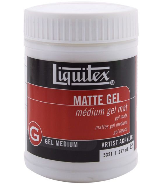 Liquitex Matte Gel is a heavy body, translucent gel that create a matte, non-reflective finish. It retains brush strokes, dries transparent and is permanent, non-yellowing, flexible, and water resista