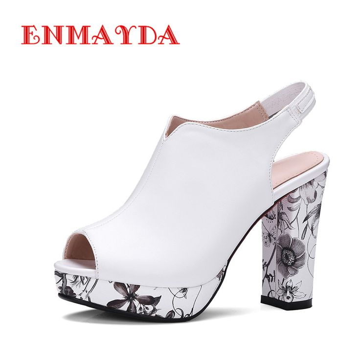 ENMAYDA PU Mareriel Super High Heels Pumps Platform Slip-On Square Heel Leisure Outside Party Wedding for Woman Shoes Size 34-42