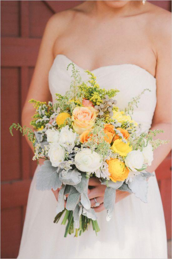 yellow and grey wedding bouquet #bouquet #weddingflorals #weddingchicks http://www.weddingchicks.com/2014/04/23/lovely-wedding-remembrances/