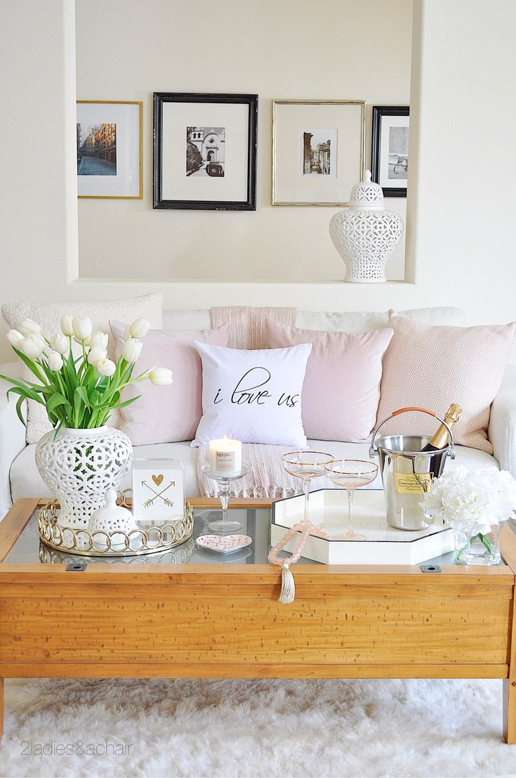 If you're reluctant to go bold with pink, how about starting with accent pillows?For blush accessories I went shopping at HomeGoods. With white as my backdrop these soft velvet pillows look so inviting on my sofa. The muted pink tassel throw adds even more texture to this space. My sofa feels fresh and sophisticated! Sponsored by HomeGoods