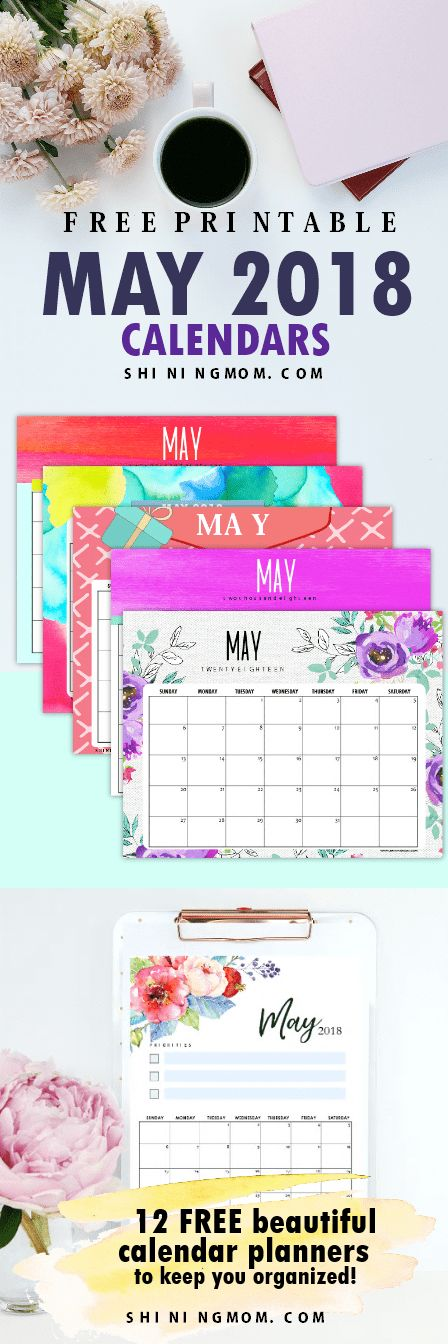 Choose your free printable May 2018 calendar from this set! There are 12 amazing planners to choose from! #2018 #May #calendars #printable