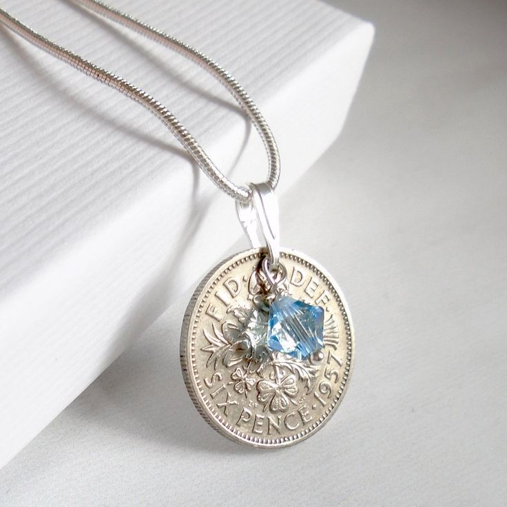 60th birthday gift for women 1960 sixpence necklace 60th