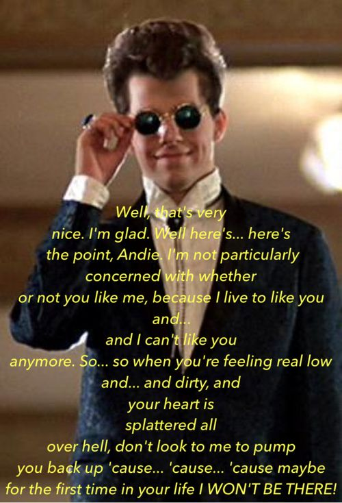 Pretty in Pink Quotes | ... image include: duck man, duckie, hipster, indie and pretty in pink