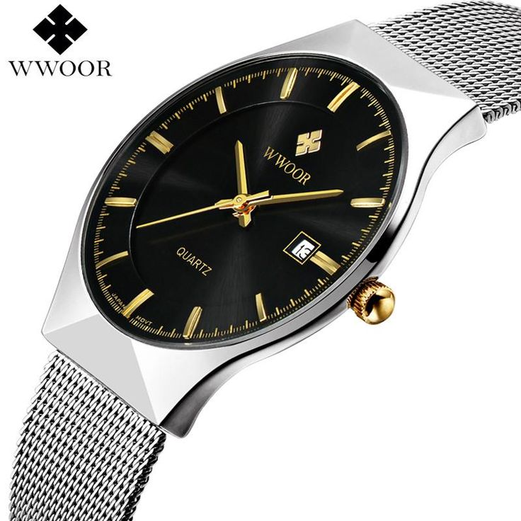 New Men Watches Top Brand Luxury 50m Waterproof Ultra Thin Date Clock Male Steel Strap. Brand: WWOOR    Style: Sport,Military,Casual,Business    Display: Analog    Movement: Original Japan VJ32 SeiKo movement    Battery: MAXELL / SONY 626         Main Feature:    - 100% New with tag and high quality;     - Auto Date Display Function;    - 5ATM/50M Water Resistant(don\'t operate watch when underwater);    - Quality Zinc Alloy Case;    - Quality Stainless Steel Band;         Specification…