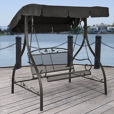 Patio Swing Set With Canopy Furniture Clearance Outdoor 2 Seats Iron Hammock