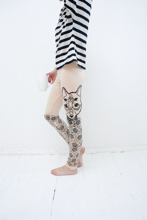 meadow wolf leggings by ZIBtextile on Etsy