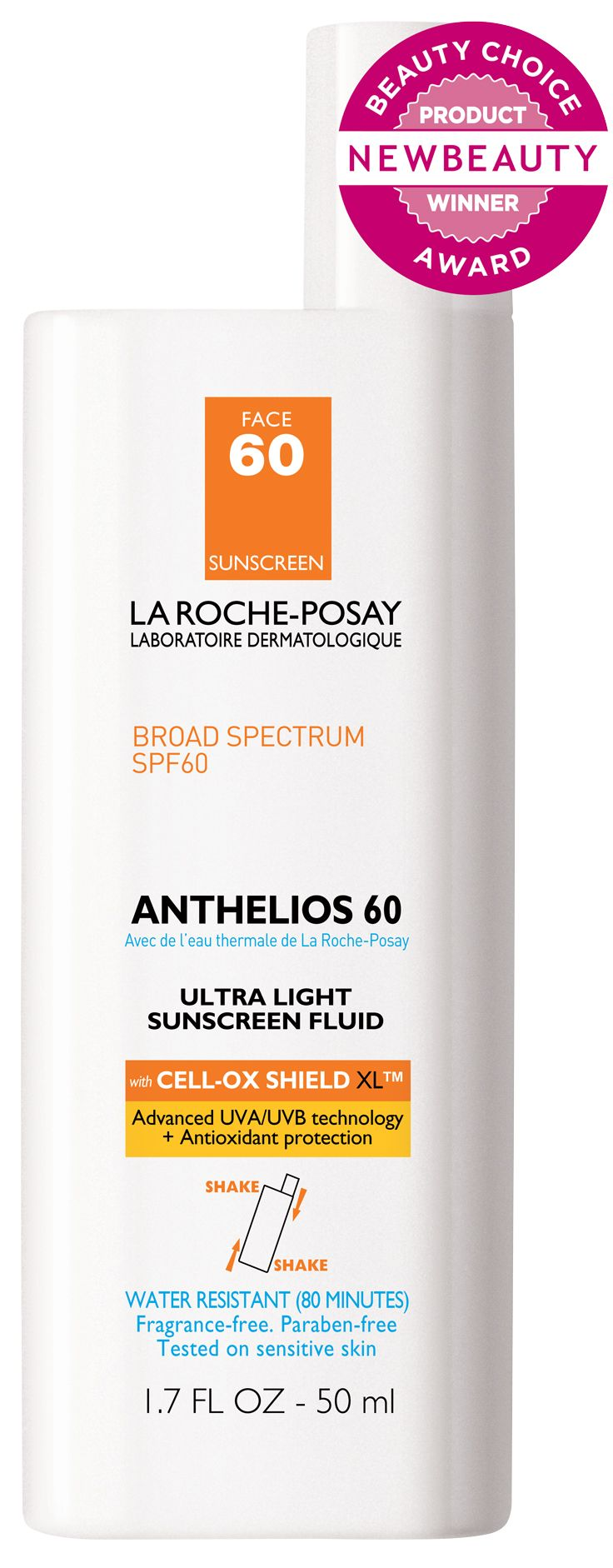 LaRoche-Posay's fast absorbing, water-resistant, matte finish Anthelios 60 Ultra Light Sunscreen Fluid won the Beauty Choice Award for the Best Sunscreen to Wear Under Makeup - $29.99