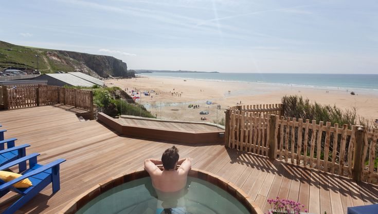 View from the hot tub  http://www.watergatebay.co.uk/index.php