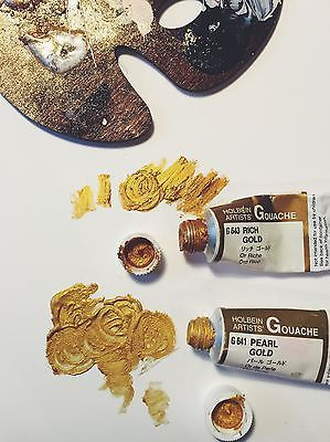 Holbein Gold Gouache Another one of my favorites. These gold paints are thicker than the Golden Acrylic- and retain a very shimmery gilded look. I love the Rich Gold hue.