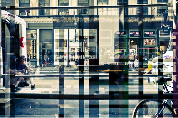 """In his latest photography project """"In Transit,"""" Diego Kuffer took multiple photographs of stationary scenes and merged them together to create a surreal """"chrono cubist"""" view of the world. It's like a still frame time-lapse animation."""