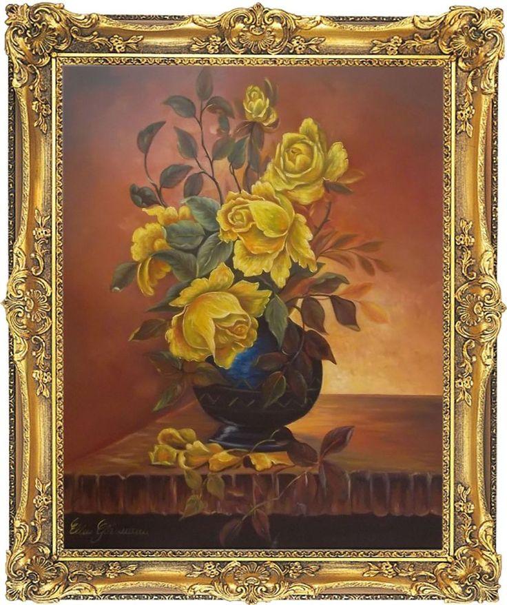 Rosen Blumen 60x50 cm handgemaltes Ölgemälde mit Barockrahmen 74 x 64 cm Unikat