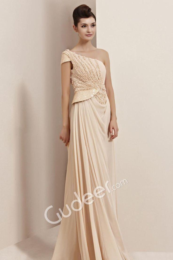 sequin and origami one shoulder cap sleeve elegant long evening dress