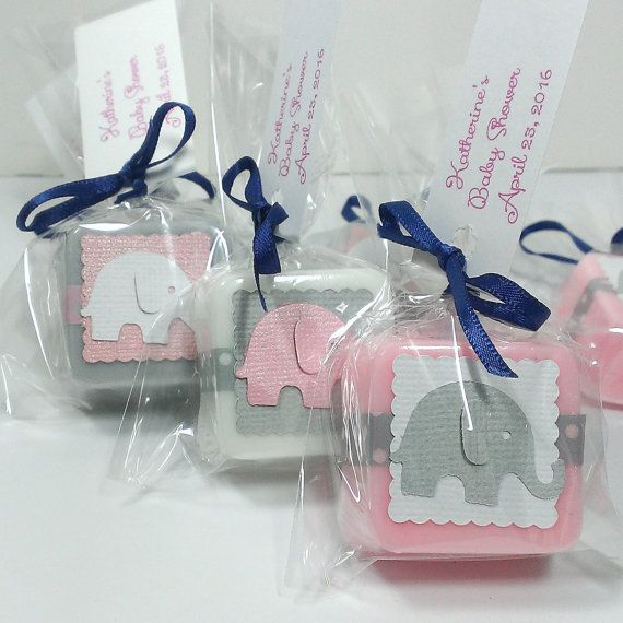 Elephant baby shower favors, made with handmade shea butter mini soaps. They are shown in pink, white and grey in the main picture but are available to match any color theme. These soaps measure approximately 1 1/4 across and are about 1/2 thick. They weigh approximately 1 oz each. Each favor comes with an ingredients label so your guests know what is in their soap. These are also available in 2-4 ounce soaps. (message me for more info) --Orders of 36+ come packaged in nice boxes you can…