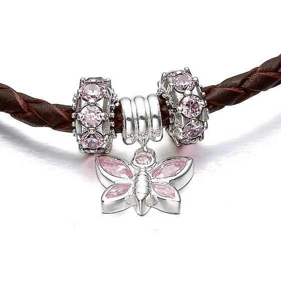 Pandora Charms   Cheap Pandora Butterfly-loved Flower Gems and Silver Charms Bracelets ...