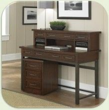 Home Styles Cabin Creek Vintage Chestnut Reclaimed Wood Executive Desk  Hutch And Mobile File Office