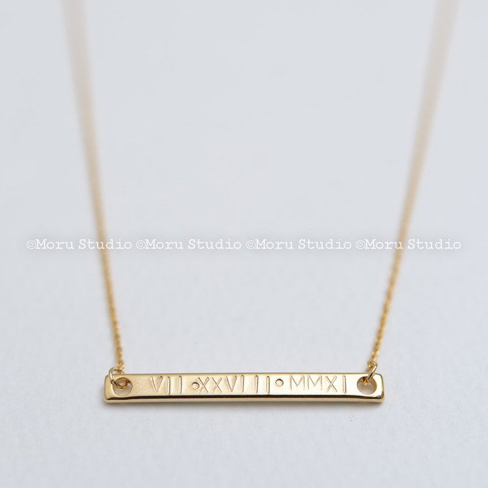 #RomanNumeral #BarNecklace #Personalized #HandStamped #SpecialDateNecklace #WeddingDate #weddinggift #Birthday #BridesmaidGift #graduationgift