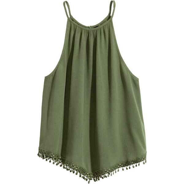Sleeveless Top $14.99 (4.150 HUF) ❤ liked on Polyvore featuring tops, t o p s, crinkle top, green tank top, green top, lace trim top and sleeveless tank tops