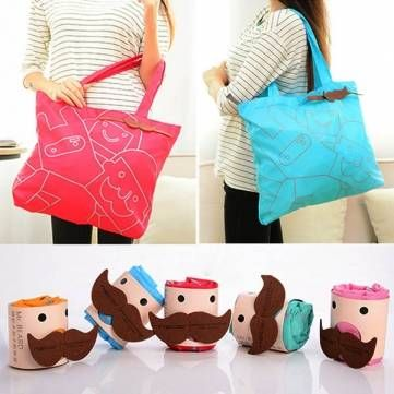 Portable Mr.Beard Reusable Bags Foldable Shopping Bag at Banggood