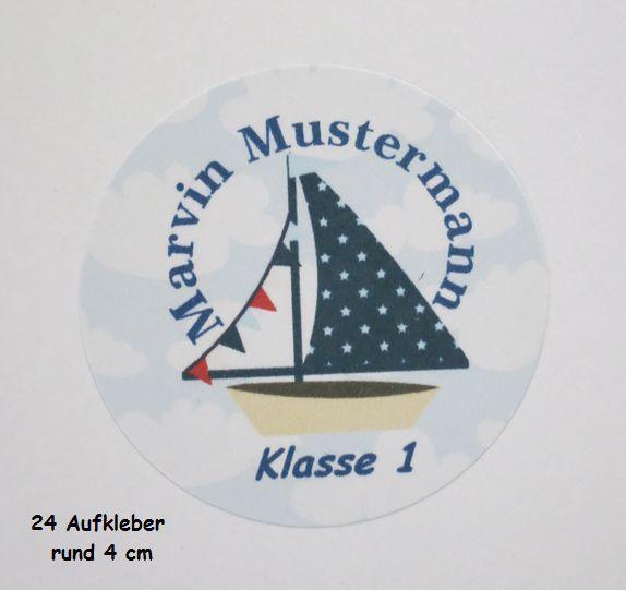 24 Aufkleber Schulkind, Name, Schule, Schiff von ღKreawusel-Designღ auf DaWanda.com