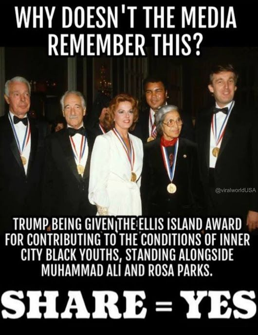 """This award is for """"patriotism, tolerance, brotherhood and diversity"""" But of course he only becomes a racist when he's running against Clinton and the media brainwashes to tip the scales for Crooked Hillary."""