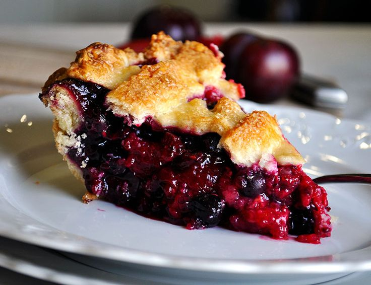 Triple Berry Plum Pie with Mixed Berries