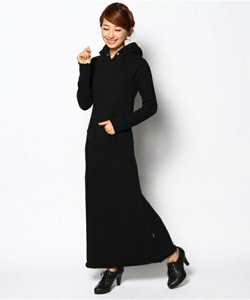 BASECONTROL FEMALE(ベースコントロールフィメール)の【WEB限定】pound sweat food maxi op(ワンピース・ドレス) ブラック