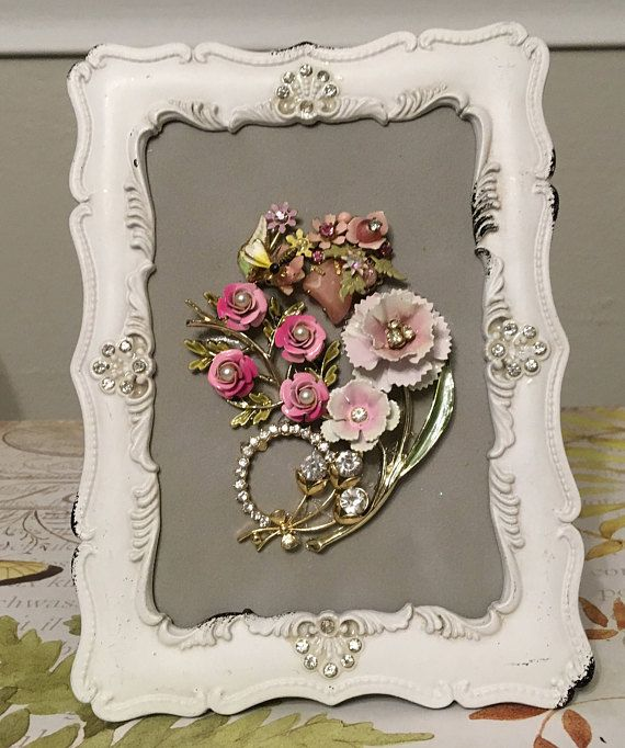 Vintage+Jewelry+Floral+Framed+Art+Collage+Picture++Delicate