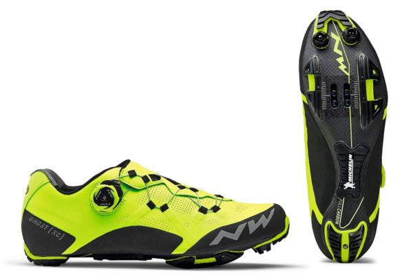 Northwave Ghost XC carbon sole Xframe lacing CX cross-country race mountain bike shoes hi-vis yellow