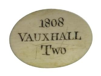 Ivory Entrance Ticket For Vauxhall. 1808.  This is the pass of Lloyds Evening Post, one of London's leading evening newspapers. It admits two people to the gardens.