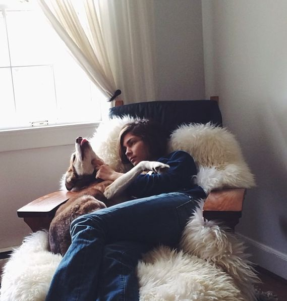 Dog Threw Up On Rug: Sheepskin & A Dog, Can't Get A Better Cozy, Comfort Fix