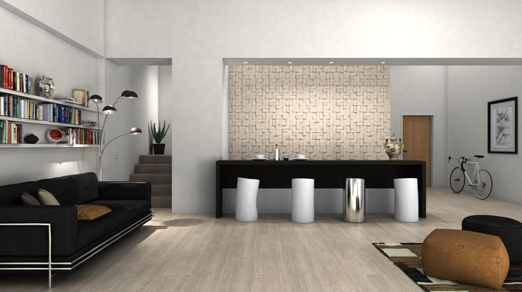 Ceramica Sant'Agostino tiles for this livingroom, virtual image, rendered with DomuS3D® 2017 and V-Ray