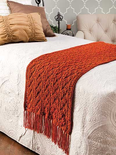 Copper Lace Bed Scarf Crochet Pattern Download from e-PatternsCentral.com -- Lush tweed-look yarn in a rich, burnished copper shade creates this cozy accessory to dress up a bed for your autumn decor.