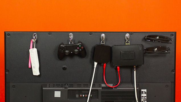 Game controllers, streaming sticks, 3D glasses, and more--why keep these accessories cluttering your tables when the back of your TV can hold them all?